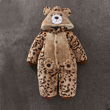 Baby clothing winter 0-18 months newborn clothing jumpsuit autumn winter baby khaki thickened animal cottons