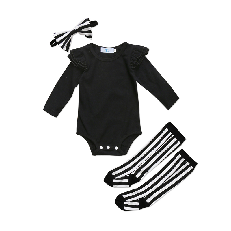 New Casual Toddler Baby Girl Clothes Long Sleeve Top Romper + Striped Socks + Headband 3pcs Outfits Set