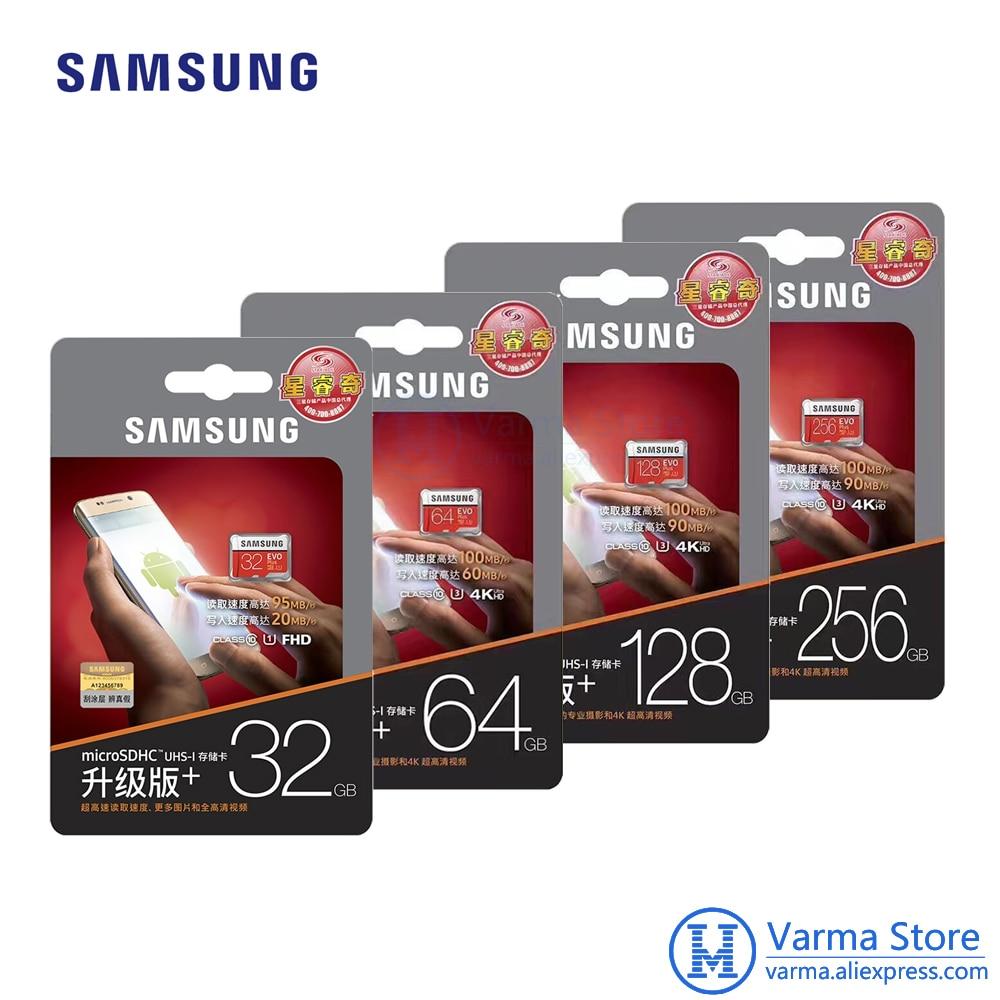 Samsung TF Card MB-MC EVO Plus micro SD flash memory card UHS-I 32GB/U1 U3 64GB 128GB 256GB Class10 4K microSDHC microSDXC samsung micro sd memory card 32gb microsd 128gb class 10 microsdhc sdxc uhs i transflash u3 100% real brand evo plus new arrive