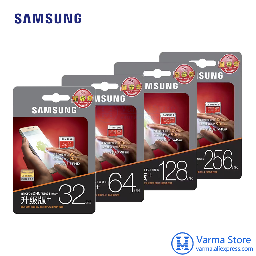 Samsung TF Card MB-MC EVO Plus micro SD flash memory card UHS-I 32GB/U1 U3 64GB 128GB 256GB Class10 4K microSDHC microSDXC