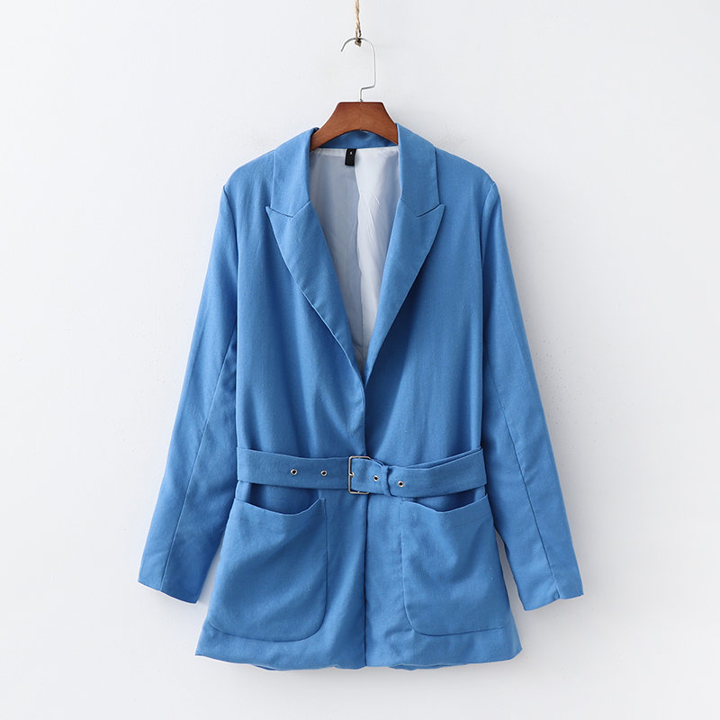 Fashion Za Women Blue Sashes Pockets Decoration Linen Jacket Elegant Office Ladies Turn-  down   Collar   Coat   Casual Casaco Femme