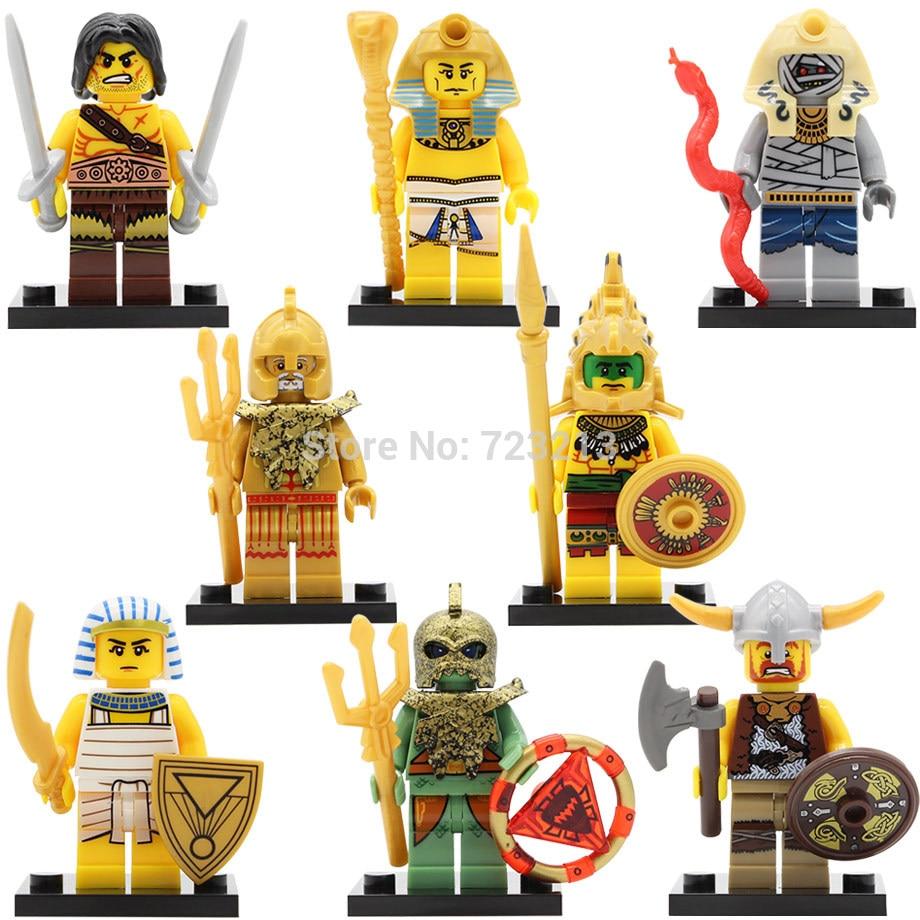 X0161 Figure Aztec Egyptian Viking Warrior Atlantis Mummy Pharaoh single sale Barbarian Building Blocks Set Model Bricks Toy