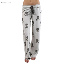 2017 Women Pants Casual Low Waist Flare Wide Leg Long Pants Palazzo Trousers Skull Printed Pajama Pants At Home