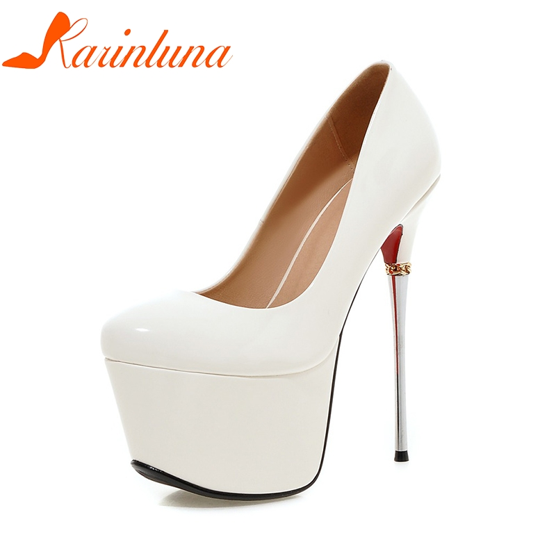 KARINLUNA 2018 Big Size 32-43 Spring Summer Party Shoes Women 7 Colors  Sexy 16cm Thin High Heels Fashion Red Pumps Shoes big size 32 43 fashion party shoes woman sexy high heels platform summer pumps ankle strap sandals women shoes