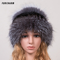 Women's Hat Winter Real Fox Fur Hat with Silver Fox Fur Russia Hot Fashion Style Good Quality Female Warm Beannies Caps