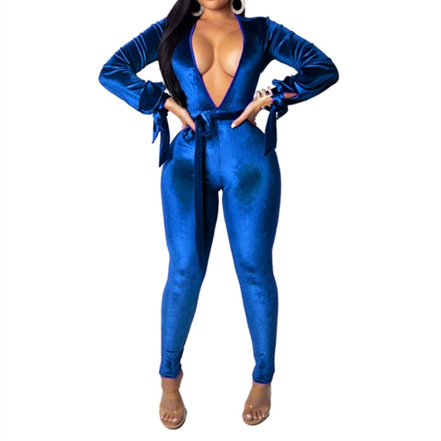 7e752d61792d Casual Blue Velvet Rompers Womens Jumpsuit Sexy Deep V Neck Back Hollow Out Long  Sleeve Overalls Bodycon Female Long Playsuit