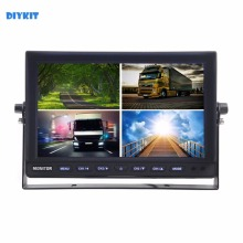DIYKIT DC12V-24V 10 Inch 4 Split Quad LCD Screen Display Color Rear View Car Monitor for Car Truck Bus Reversing Camera
