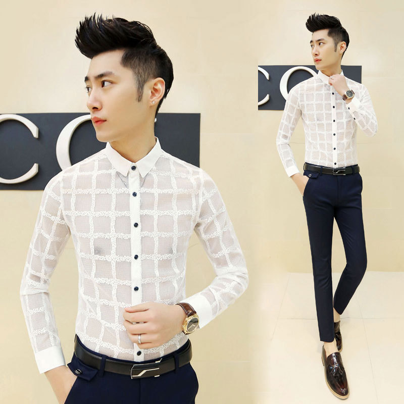 hot 2015 new korean fashion mens see through shirts casual