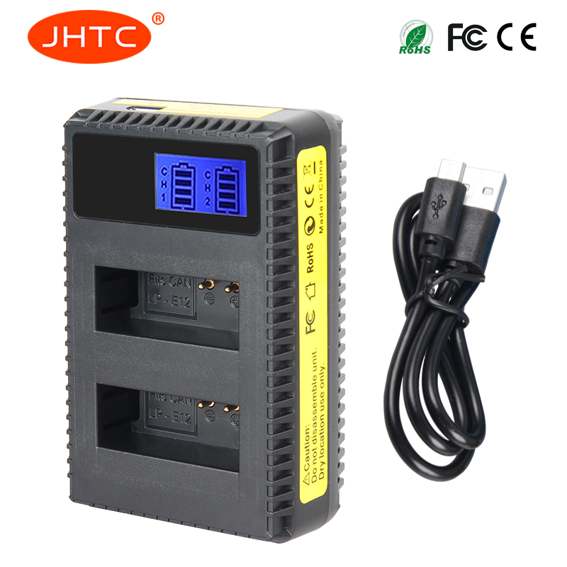 JHTC 1pc LP-E12 LCD USB Charger with LCD screen for Canon Camera EOS-M EOS M 100D Rebel SL1 Kiss X7 EOS M M2 100D M10 EOSM EOSM2