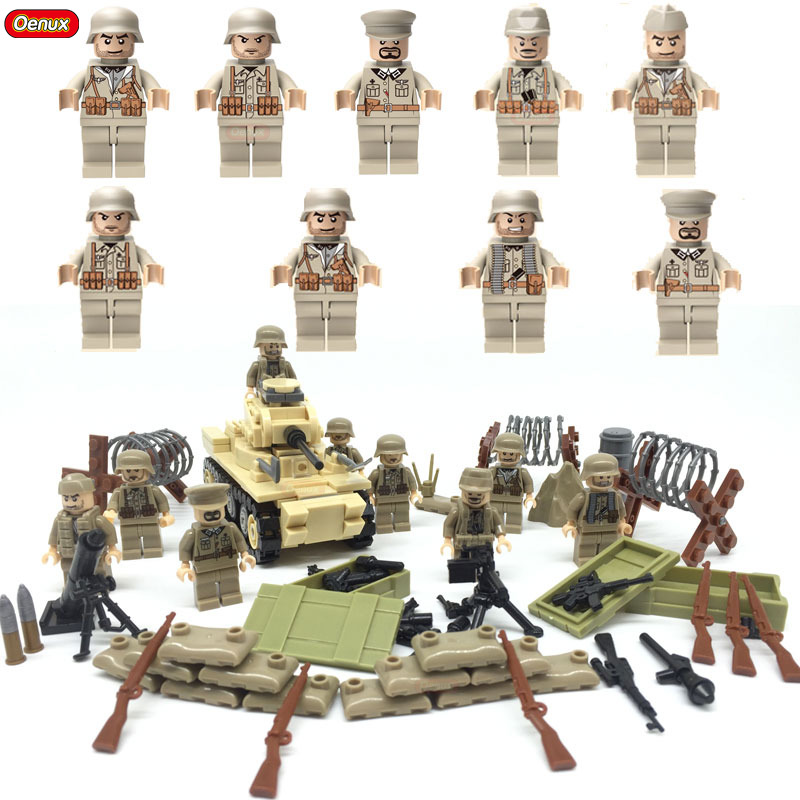 Oenux New WW2 North Campaign Classic Vehicle MARK1 Tank Dodge WC63 Model Building Block Military Soldiers Mini Doll MOC Toy 548pcs military ww2 german panzer iii tank ausfl primary battle tank model building block assembly toy for kid christmans gift