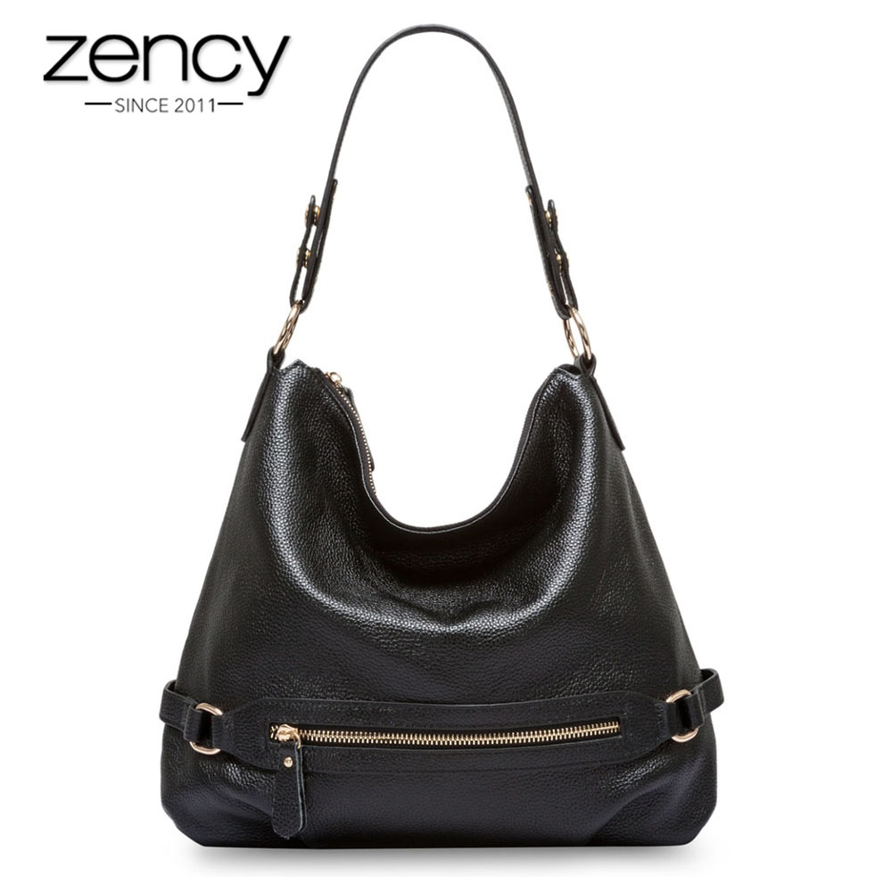 Zency 100% Real Cow Leather Classic Style Women Shoulder Bag Charm Light Blue Lady Messenger Crossbody Purse Black Tote Handbag zency 100% genuine leather women shoulder bags fashion casual crossbody messenger bag lady beautiful flap purse black handbag