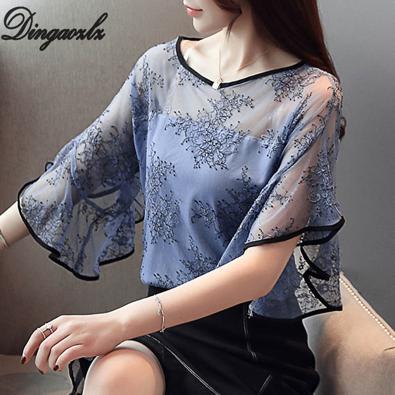 Dingaozlz Summer New Fairy Lace Stitching Women shirt Butterfly sleeve embroidery Tops Casual Crochet Hollow out blouse Women Women's Blouses Women's Clothings