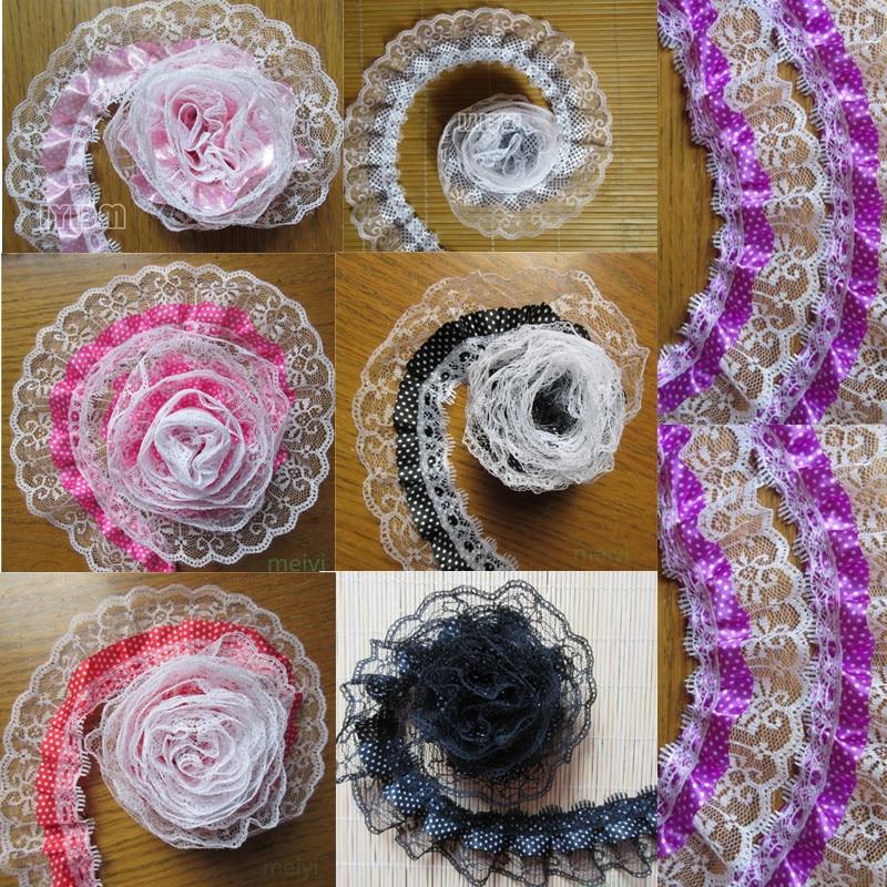 "laverslace 5 METRE Fluorenscent Pink Gathered Nottingham Lace Trim 1.75/""//4.5cm"