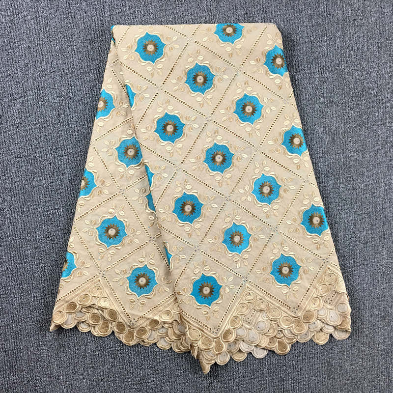 african lace fabric 2019 high quality Khaki Turquoise Blue laces switzerland 100 cotton voile lace with