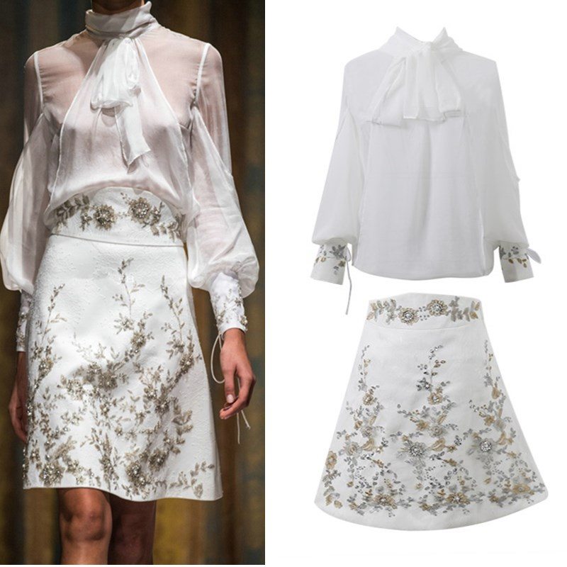 Runway Spring Skirt Suits Women's Sheer Lantern Sleeve Bows Chiffon Blouses Tops + Vintage Beaded Flower Appliques Skirts NS354