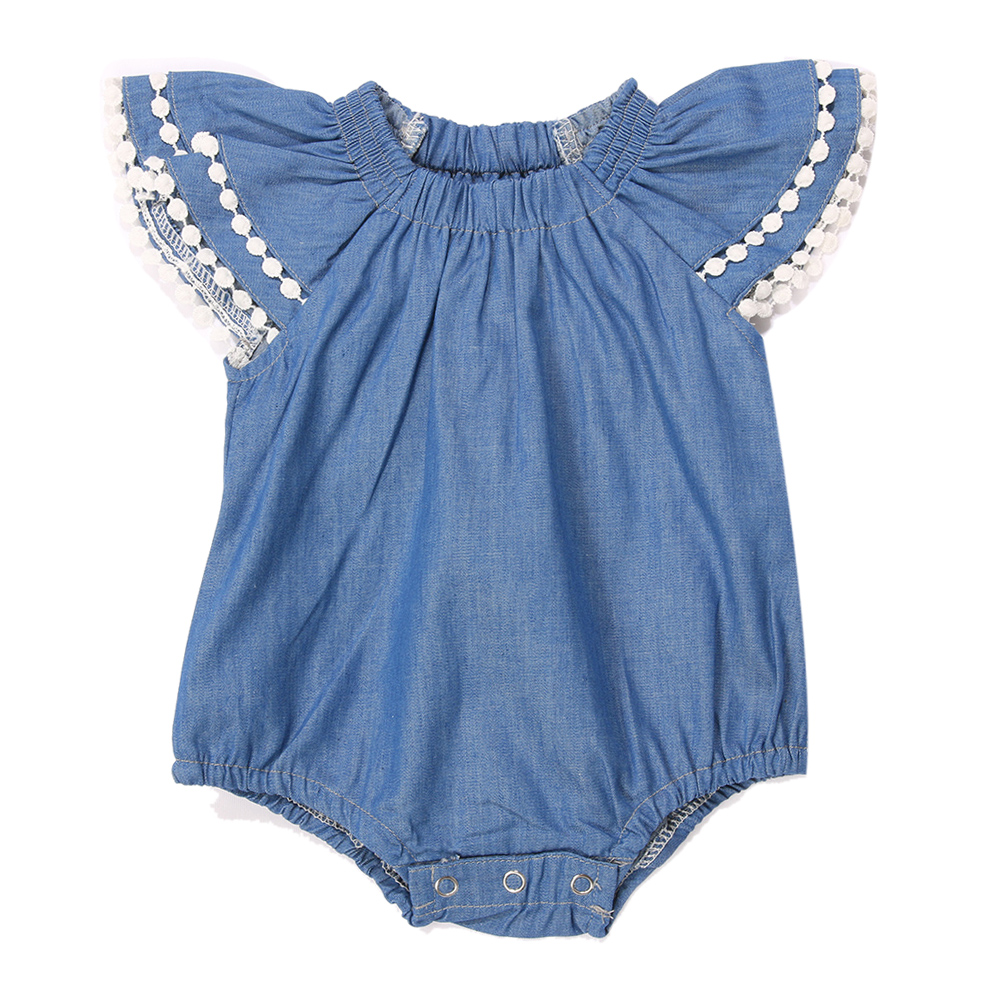 Cute Newborn Baby Girl Romper Lace Clothes Infant Bebes Lace Jumpsuit Denim Rompers Jumpsuit Sunsuit Outfits Blue newborn infant baby girl boys cute rabbit bunny rompers jumpsuit long sleeve clothing outfits girls sunsuit clothes