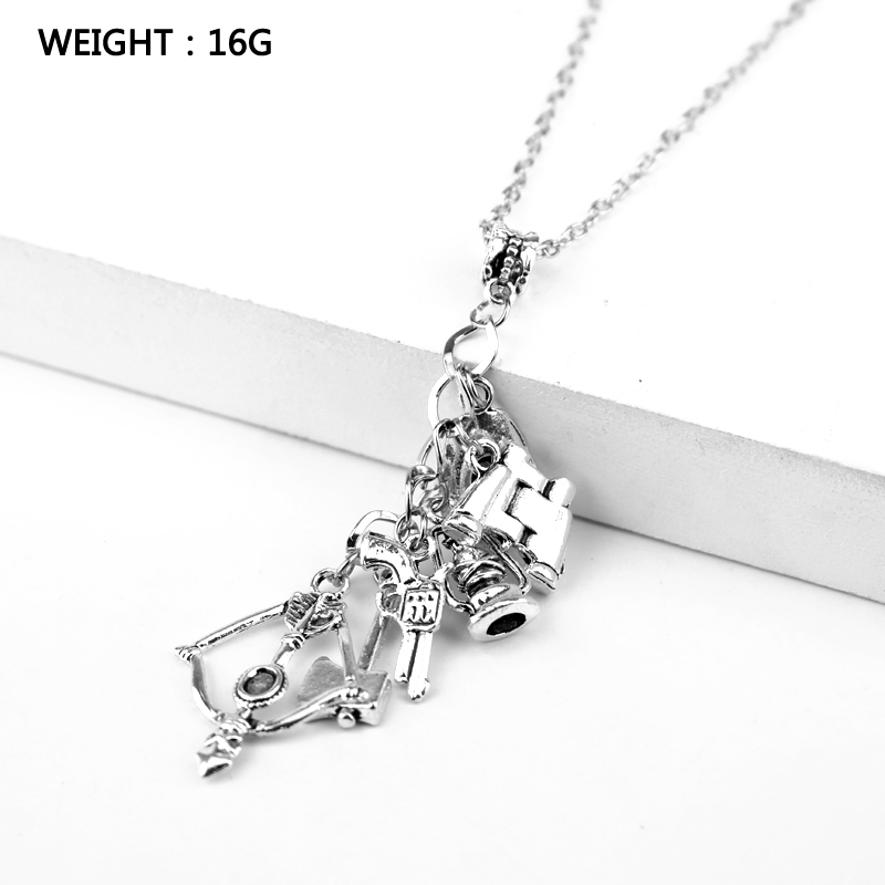 The Walking Dead necklace vintage Zombie hat telescope bow and arrow gun axe water bottle pendant for men and women