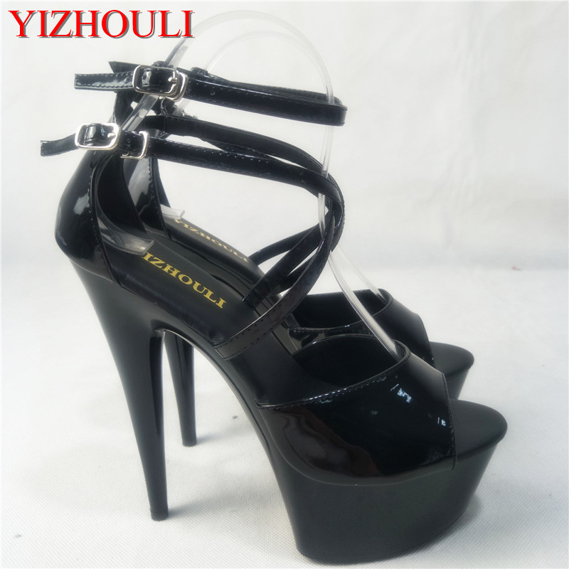 62f202014fde ... Open Toe womens Shoes 17cm high-heeled sandals platform. US  49.68.  (1). Plus Size Crystal Ankle Strap 15CM Sexy Super High Heel Platforms Pole  Dance ...