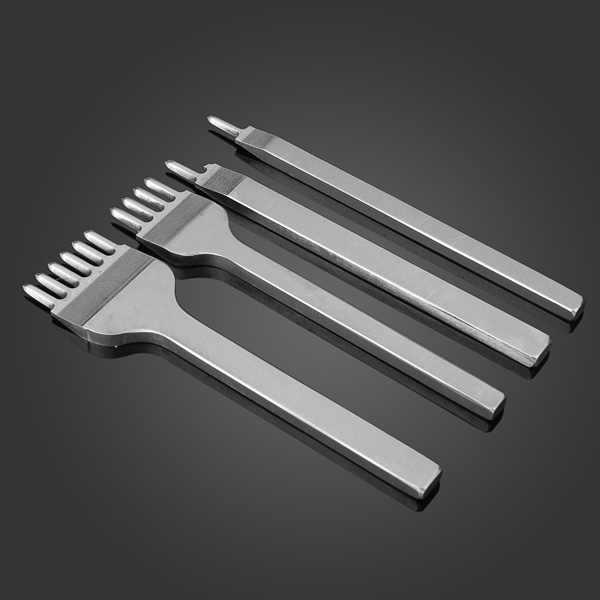 4 шт. Сталь Кожа дырокол инструменты 1/2/4/6 зубец Алмаз точка Зубило DIY кожа отверстие инструмент