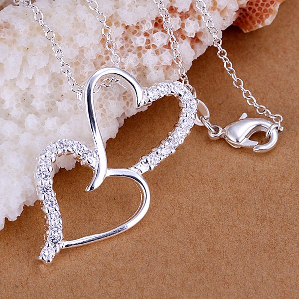 P175_2 Hot sale fine silver plated jewelry,Wholesale Factory 925 charms free shipping fashion Insets down the heart pendant
