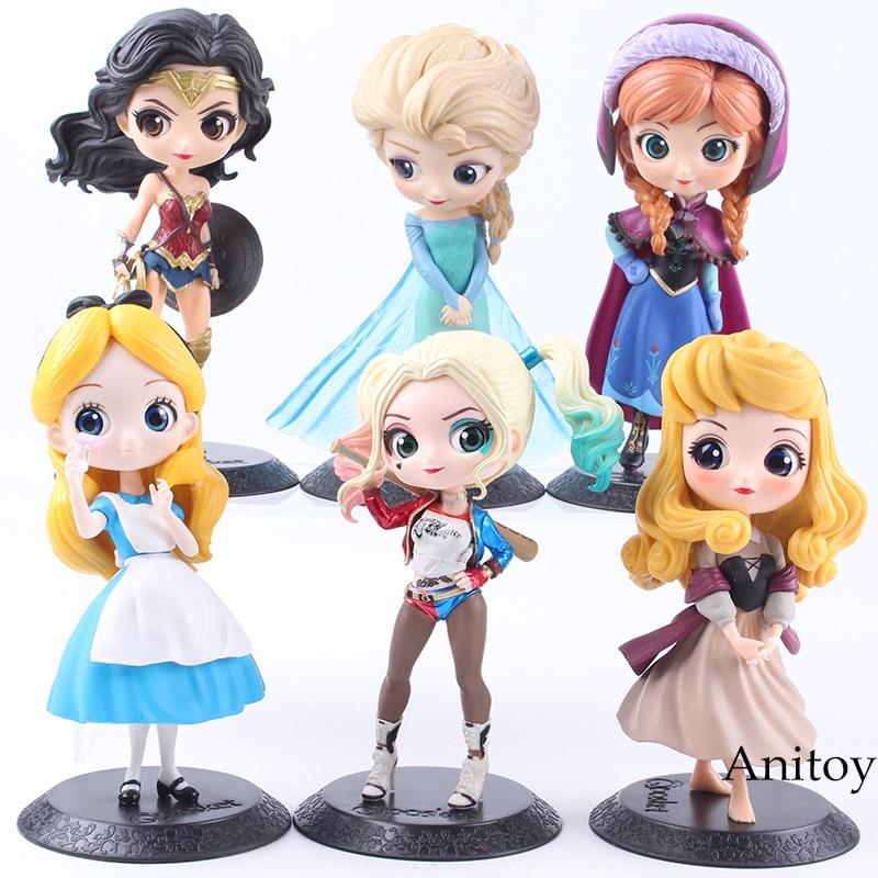 Q Posket Caractères Princesse Aurora Alice Wonder Woman Harley Quinn Anna Elsa Poupée PVC QPosket Princesse Anime Figure Jouets Poupées
