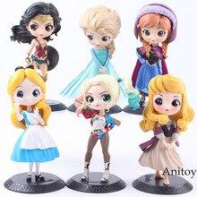 Q Posket Personagens Princesa Aurora Alice Mulher Maravilha Harley Quinn QPosket Princesa Anna Elsa Boneca PVC Anime Figura Toys Dolls