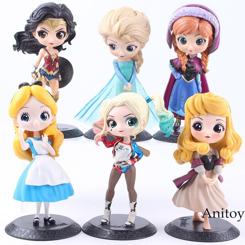 Q Posket Zeichen Prinzessin Aurora Alice Wonder Frau Harley Quinn Anna Elsa Puppe PVC QPosket Prinzessin Anime Abbildung Spielzeug Puppen