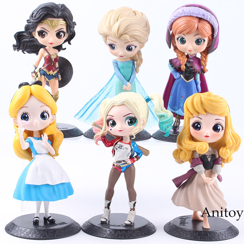 Q personajes de la princesa Aurora Alice Wonder Woman Harley Quinn Anna Elsa muñeca PVC QPosket princesa Anime figura juguetes muñecas