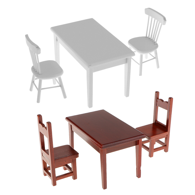 1 12 Dolls House Miniature Furniture Wooden Dining Table Chair Set Children Gift Primary Pretend