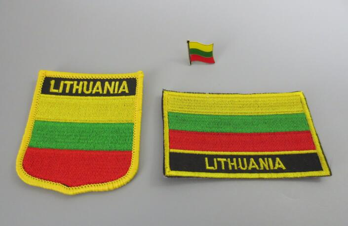 """LITHUANIA FLAG 2 1//2/"""" IRON ON EMBROIDERED PATCH FLAG OF LITHUANIA"""