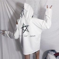 CheerSolo Autumn Hoodies Women Letter Print Star Sweatshirt Open Shoulder Long Sleeve Cut Out Top White Black Korean Streetwear 3