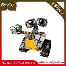 Bevle Store LEPIN 16003 687Pcs Movie Series Idea Robot WALL E Building Kits Blocks set Mini Bricks For Children Toys 21303