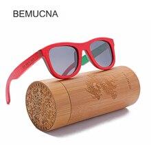 2017 New BEMUCNA Wood Sunglasses Men Polarized Fashion UV400 Black Square Sun Glasses Women  HD Lens