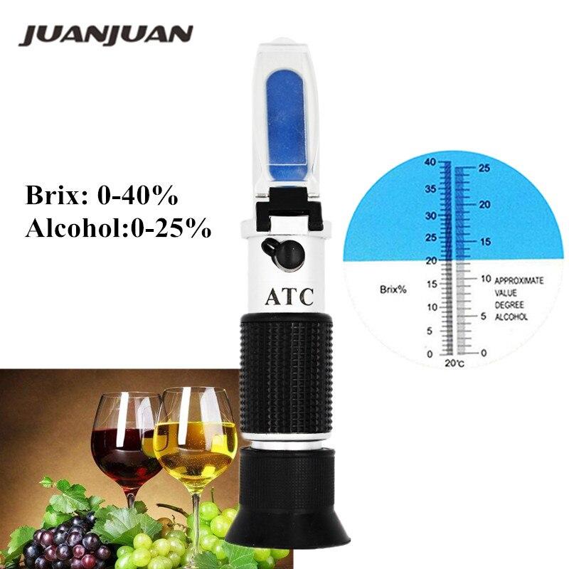 Handheld álcool refratômetro Brix açúcar 0 0-40% de álcool-25% alcoômetro refratometro medidor de açúcar 40% OFF