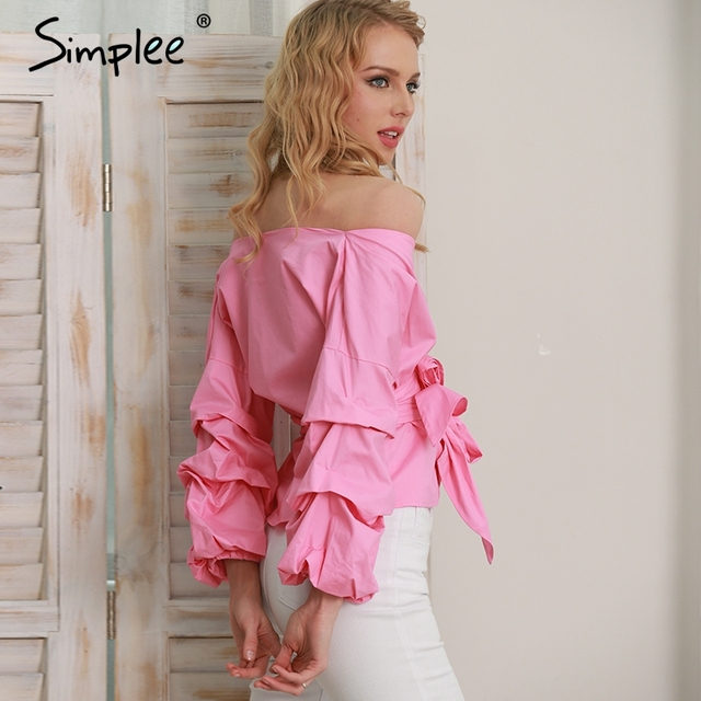 Simplee Ruffled off shoulder white blouse shirt Autumn sexy ruched sleeve cool blouse Women waist tie cotton top tees blusas