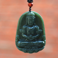 Natural Dark Green HETIAN Nephrite Buddha Pendant 3D Carved Guanyin Bodhisattva Patron Saint Pendant Necklace Men