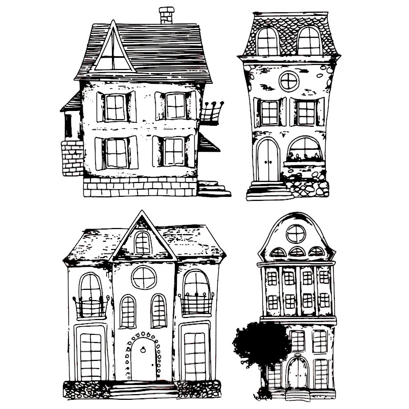 Scrapbook DIY photo cards account rubber stamp clear stamp transparent stamp 15*18 CM 4 Pieces of classical House scrapbook diy photo cards account rubber stamp clear stamp finished transparent chapter wall decoration 15 18