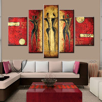 Hand Painted red yellow dancer Oil Painting large Modern Abstract 5 Panel Canvas Art Wall Decor Picture For Home Sets