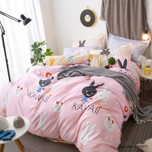 Pink Rabbit Kawaii Bedding Set Cotton Fabric Kids Bedsheet Queen Size  Pillow Duvet Cover Bed Line