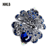 ФОТО new metal flower hair claws ornaments big crystal hair clip for women crab clip vintage bridal wedding accessories hair jewelry