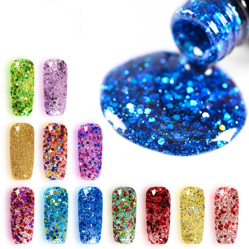Mtssii 7ml Diamond Sequin Glitter Gel Nail Polish UV Gel Varnish Shimmer Top Base Gel Lacquer Primer Manicure Gel Nail Polish