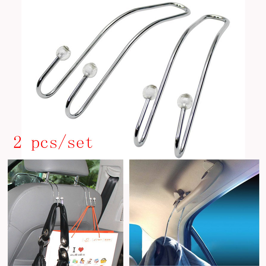 2pcs lot stainless steel car seat back hooks hangers organizer universal multifunction storage. Black Bedroom Furniture Sets. Home Design Ideas