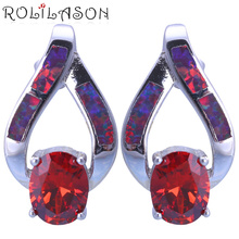 ROLILASON Wedding gift red zircon red Fire Opal silver stud Earrings Fashion Opal Jewelry for Lover wedding OES676