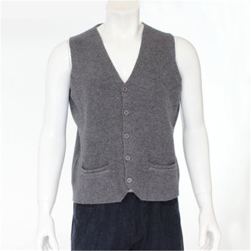 c8604203ba6 US $145.0 |high quality 100%goat cashmere knit men fashion sleeveless thick  cardigan vest sweater H straight dark grey 6color S/2XL-in V-Neck from ...