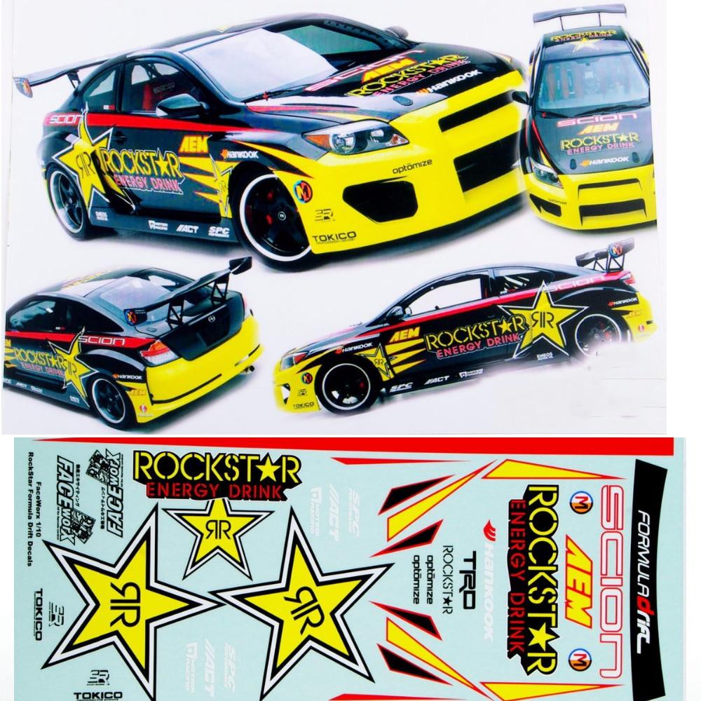 Race car sticker design - 1 10 Rc Model 1 10 Rc Racing Drift Car Body Rockstar Dirst Adhesive