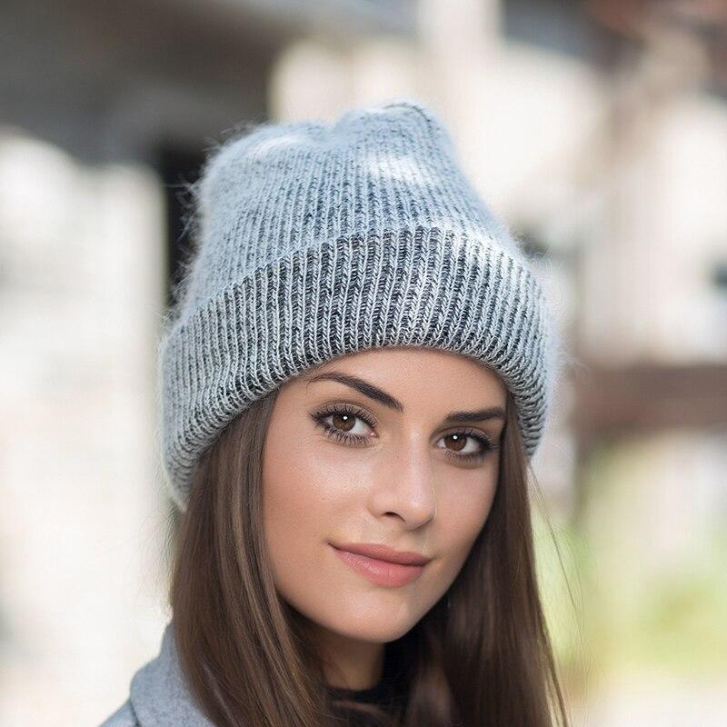Invierno Caliente lana sombreros para las mujeres de piel de conejo ... 9f3654bbcf9