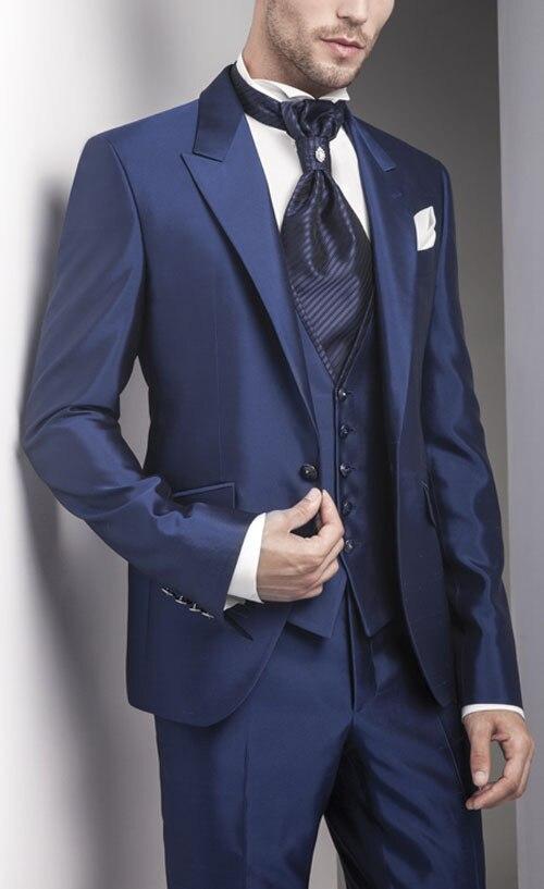 2018 Hot Sale High Quality Wedding Bridegroom Groomsman Men's Suits Groom Tuxedos Handmade (Jacket+Pants+Vest) Formal Suits