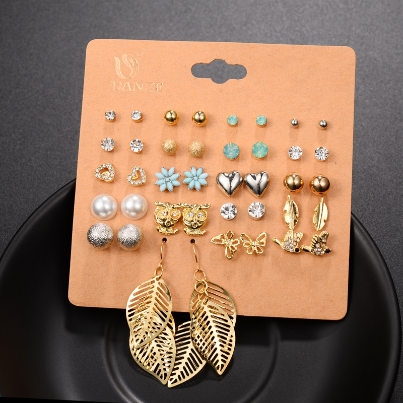 DANZE Punk Pairs Pack Set Brincos Mixed Stud Earrings For Women Crystal Ear Studs Fashion Simulated Pearl Jewelry Wholesale 51