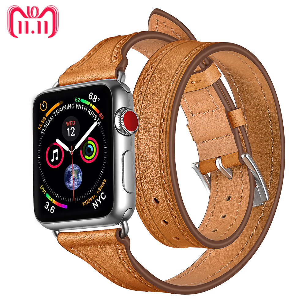 Leather strap For Apple watch band aplle watch correa 44mm 40mm 38/42mm Bracelet Wrist belt Double Tour Loop iWatch Series 3 2 1