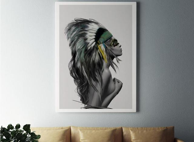 Nordic Poster Feather Indian Women Wall Art Canvas Painting Posters ...